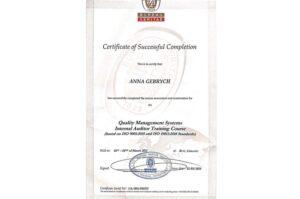 Вітаємо проректорку з організаційно-методичної роботи нашого Університету з успішним складанням іспитів та отриманням Сертифікату інспектора з внутрішнього аудиту ISO 9001:2015