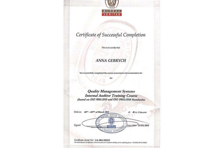 Read more about the article Вітаємо проректорку з організаційно-методичної роботи нашого Університету з успішним складанням іспитів та отриманням Сертифікату інспектора з внутрішнього аудиту ISO 9001:2015